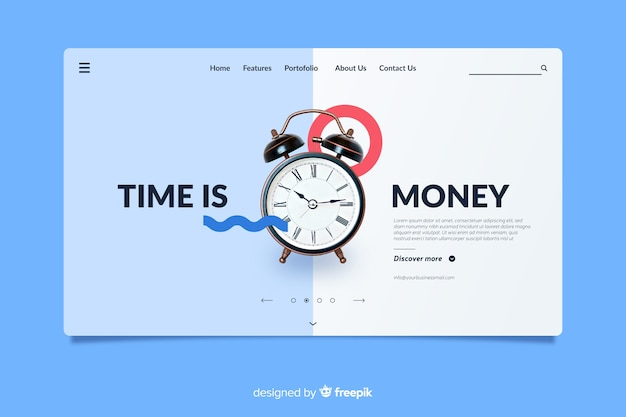 Time is money business landing page Free Vector