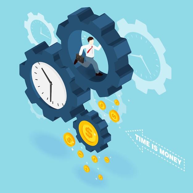 Time is money concept in 3d isometric flat design Premium Vector