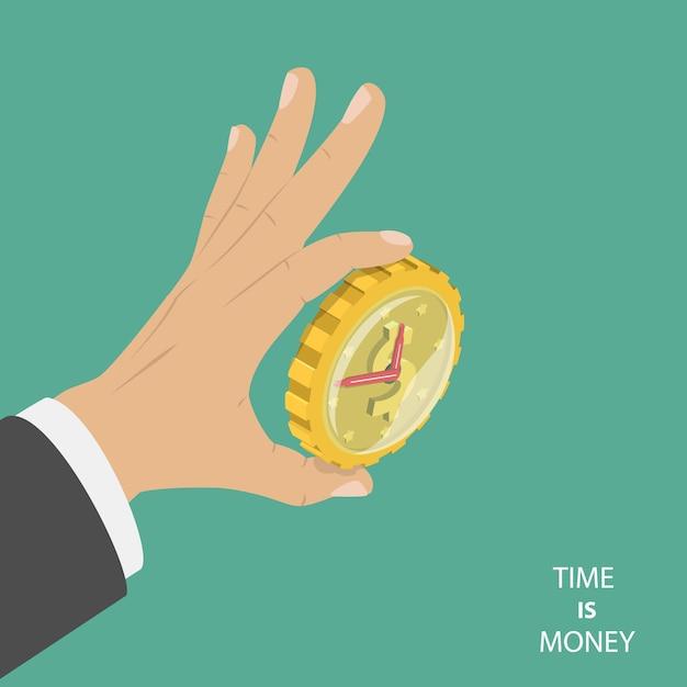 Time is money flat isometric concept Premium Vector
