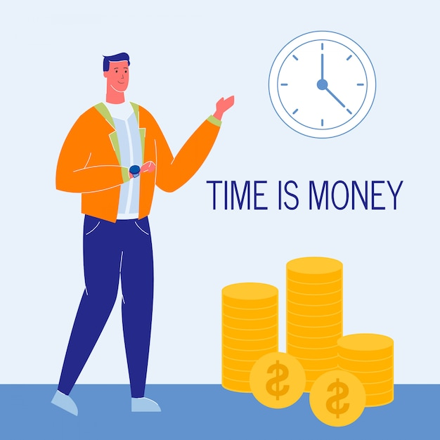 Time is money flat vector illustration with text Premium Vector