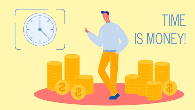 Time is money flat vector web banner with text Premium Vector