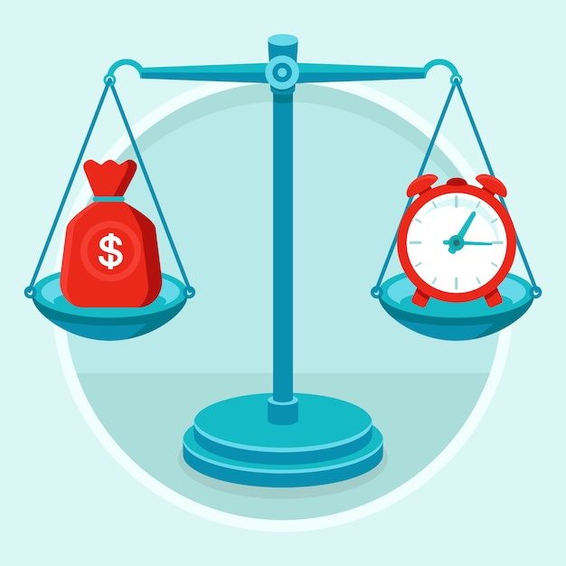 Time is money - vector concept in flat style Premium Vector