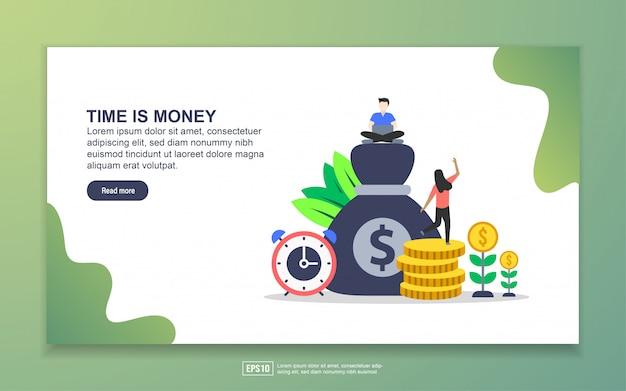 Time is moneyのランディングページテンプレート Premiumベクター