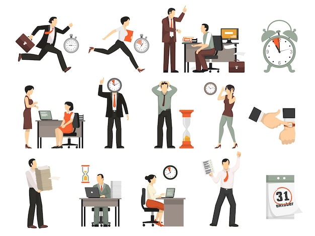 Time limited people set Free Vector