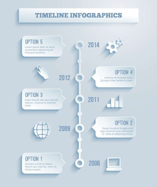 Time line infographics vector template with a paper effect showing a range of five options in text boxes spanning a number of different years Free Vector