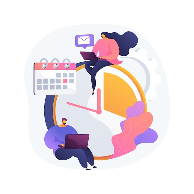 Тайм-менеджмент абстрактная концепция векторные иллюстрации. инструмент учета времени, программное обеспечение для управления, эффективное планирование, производительность на работе, часы, система управления, абстрактная метафора графика проекта. Бесплатные векторы
