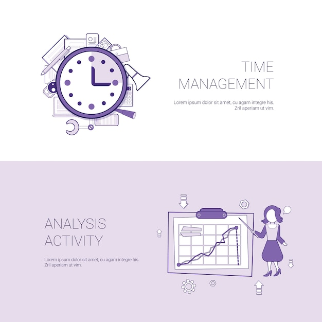 Time management and analysis activity concept template web banner with copy space Premium Vector