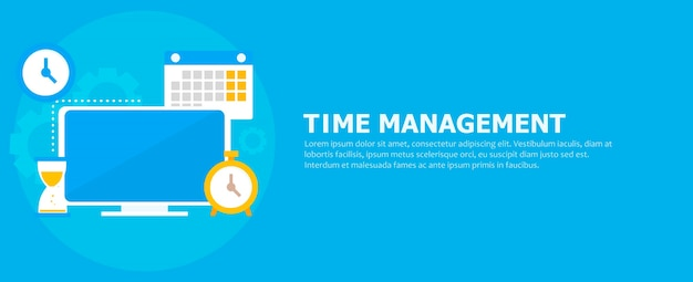 Time management banner Free Vector