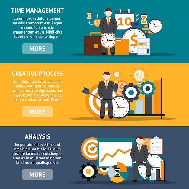 Time management banners Free Vector