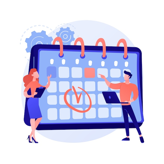 Gestione del tempo. metodo di calendario, pianificazione degli appuntamenti, organizzatore aziendale. persone che disegnano segno nei personaggi dei cartoni animati di orario di lavoro. colleghi lavoro di squadra. Vettore gratuito