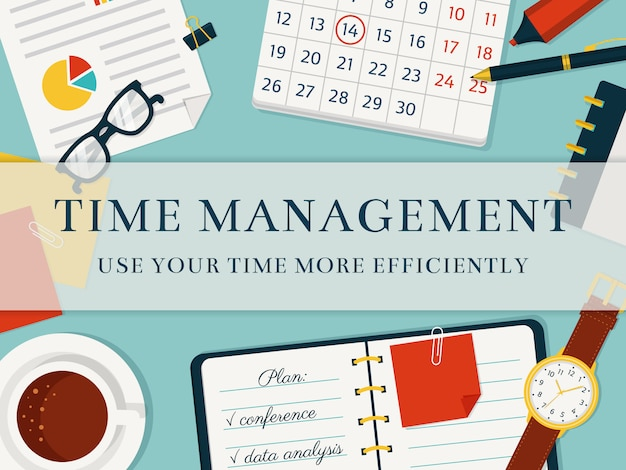 Time management concept background. Premium Vector