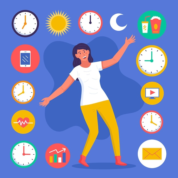 Time management concept clock illustrations Free Vector