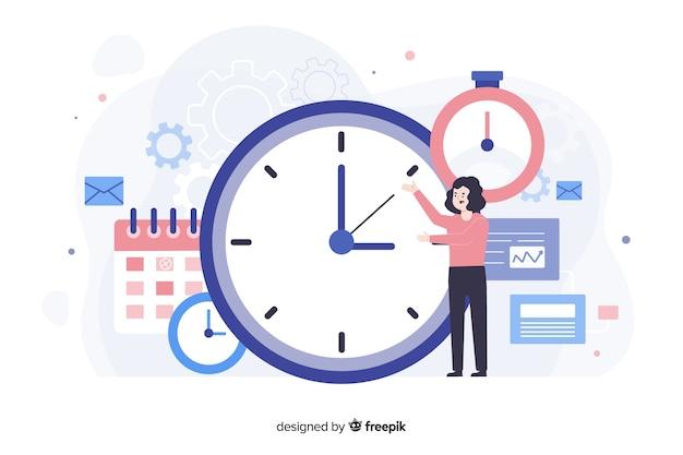 방문 페이지의 시간 관리 개념 무료 벡터