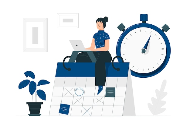 Time management concept illustration Free Vector