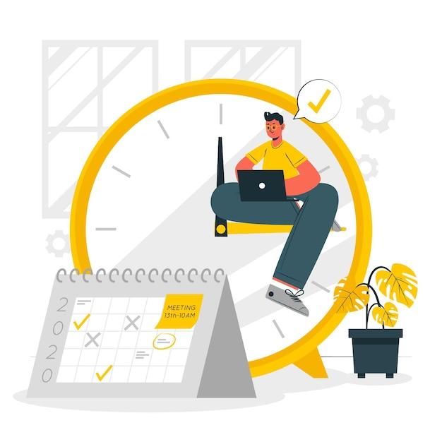Illustrazione di concetto di gestione del tempo Vettore gratuito