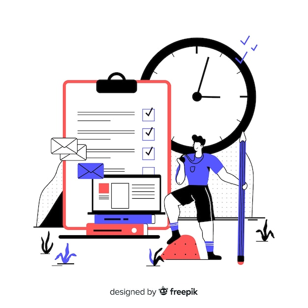 Time management concept for landing page Free Vector