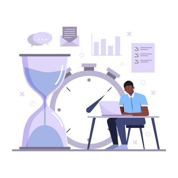 Uomo di concetto di gestione del tempo che lavora Vettore gratuito