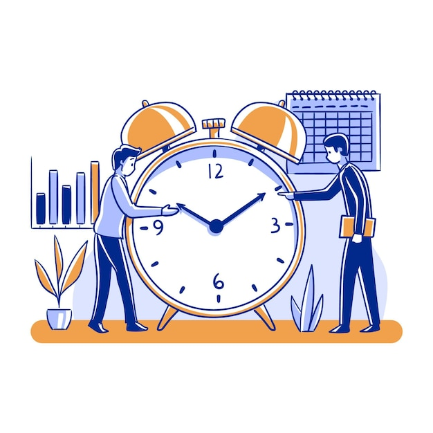 Time management concept people and clock Free Vector