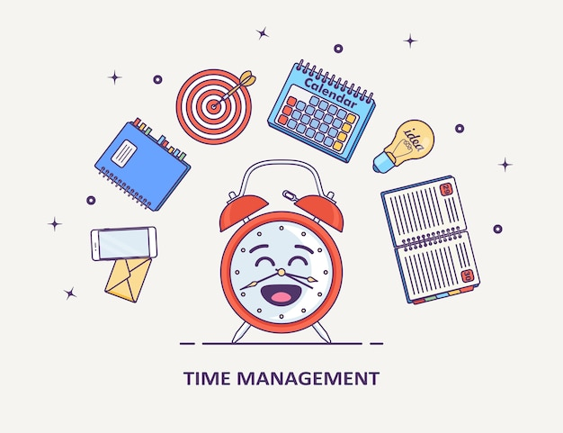 時間管理の概念。稼働日の計画、組織。面白い目覚まし時計、日記、カレンダー、電話、白い背景のリストを行います。 Premiumベクター