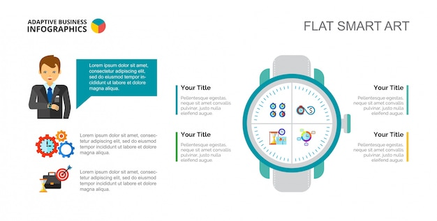 Time management concept slide template Free Vector