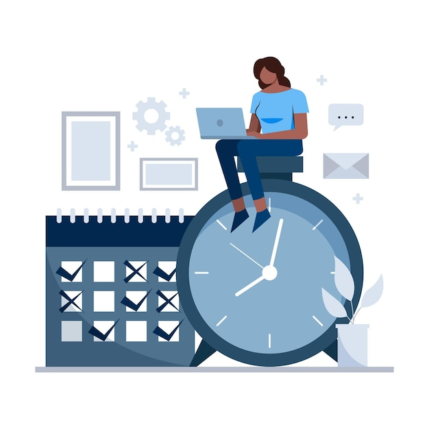 Time management concept woman on clock Free Vector