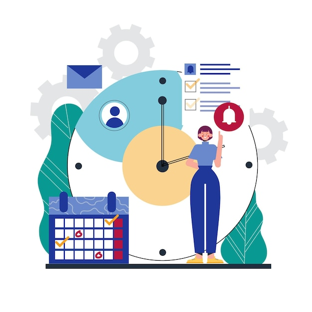 Time management concept woman and clock Free Vector