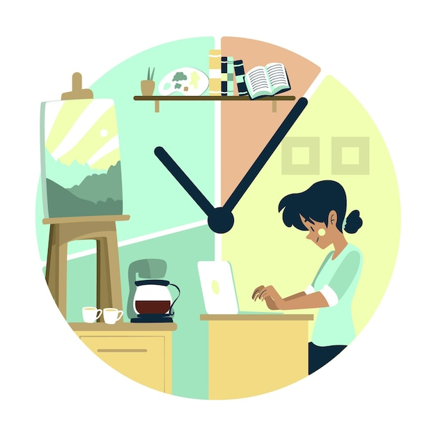 Time management concept work and leisure time Free Vector