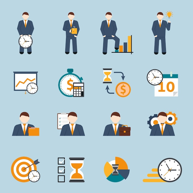 Time management flat icons set Free Vector