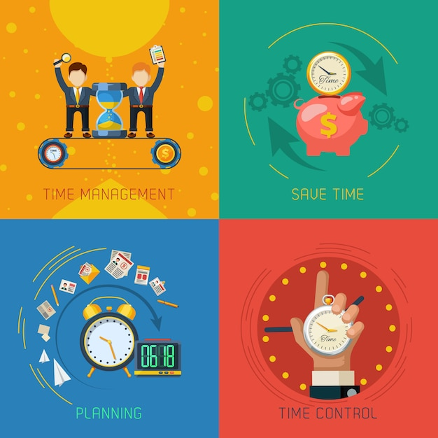 Time management flat icons square composition Free Vector