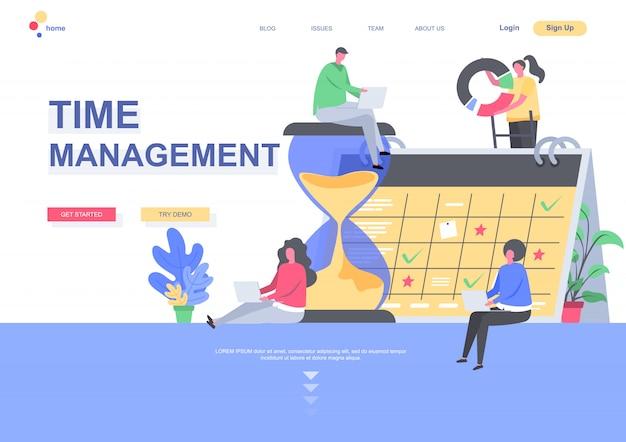 時間管理フラットランディングページテンプレート。毎週計画している開発者チームは、カレンダーの状況でタスクをスケジュールします。人のキャラクターのあるwebページ。作業組織と効率の図 Premiumベクター