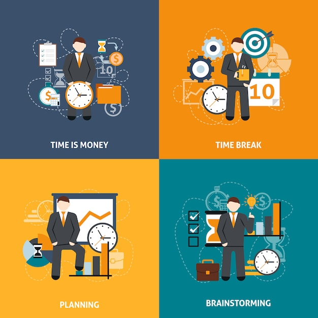 Time management flat Free Vector