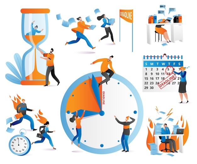 Time management icons human characters, checkboxes, clock, deadline set of  ilustration. distribution of priority of tasks, strategic planning, organization of working time, management schedule. Premium Vector
