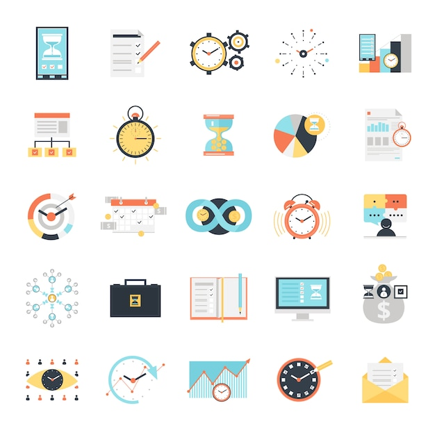 Time management icons set Free Vector