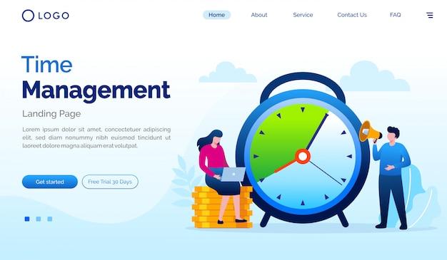 Time management landing page flat vector template Premium Vector