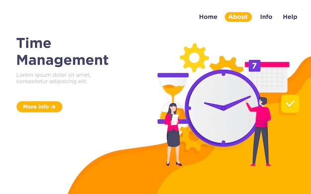Time management landing page illustration Premium Vector