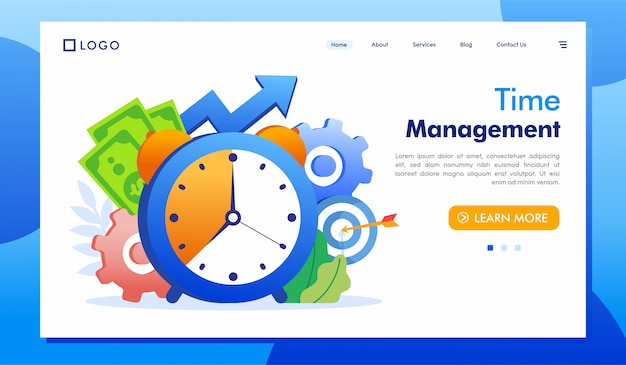 Time management landing page website illustration vector Premium Vector