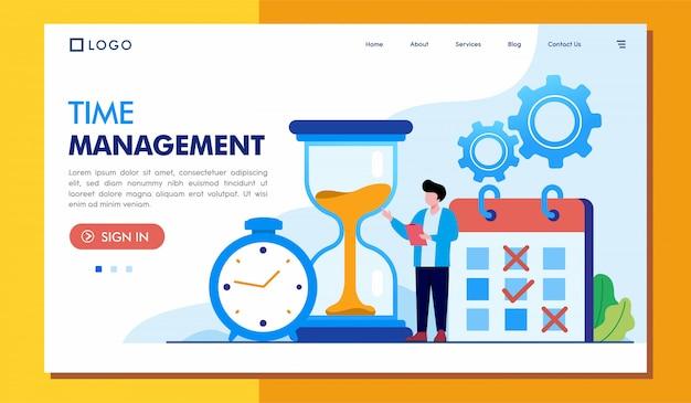 Time management landing page website Premium Vector