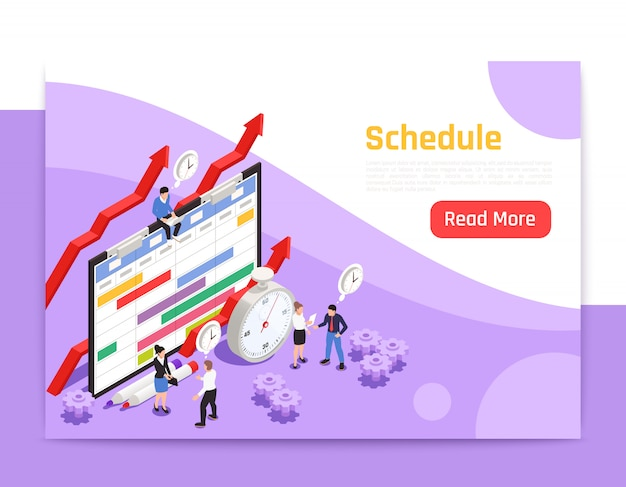 Time management landing page with alarm clock icon and people around big image of job schedule isometric Free Vector