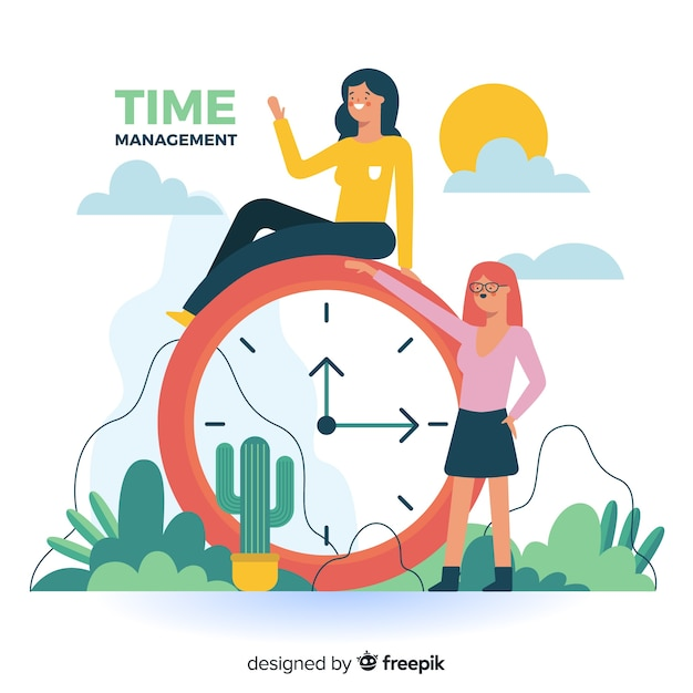 Time management for landing page Free Vector