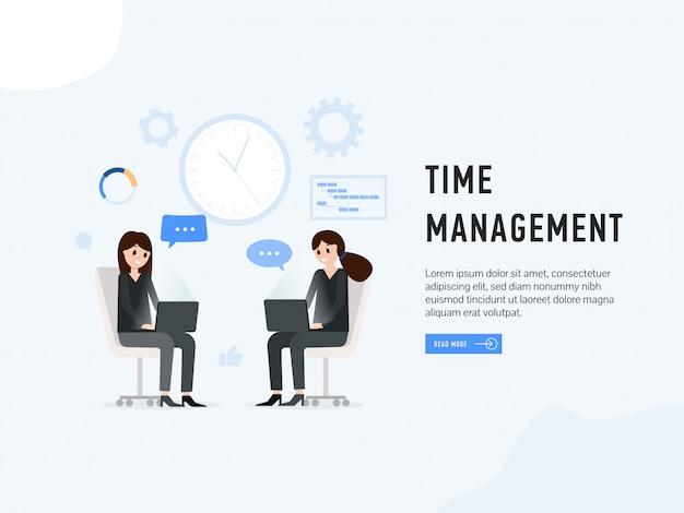 Time management landing web page Premium Vector