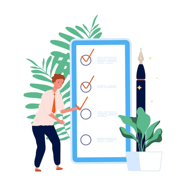 Time management. to do list, man and mobile planning. self management online concept. Premium Vector