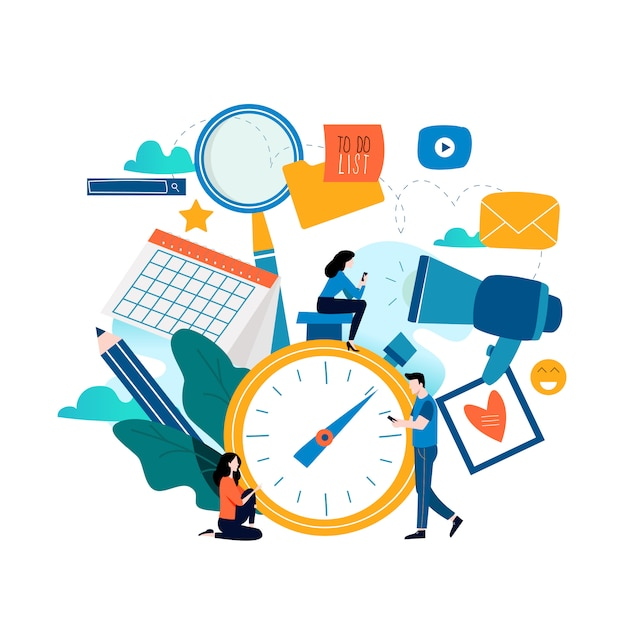 Premium Vector   Time management and planning events