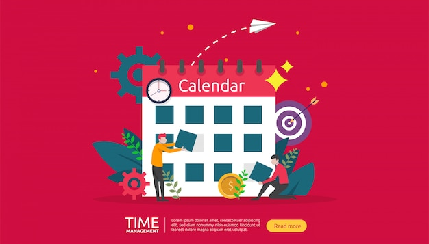 Time management and procrastination concept. planning and strategy for business banner Premium Vector
