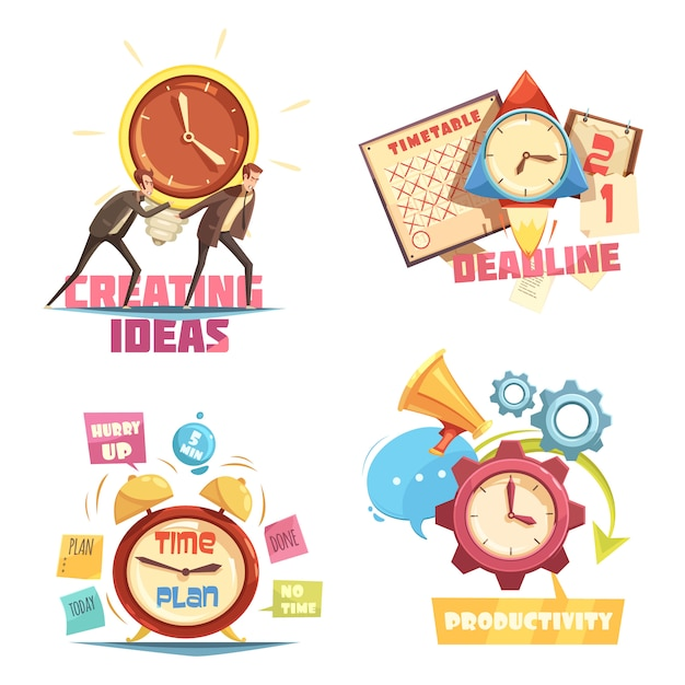 Time management retro cartoon compositions with creating ideas and deadline effective planning Free Vector
