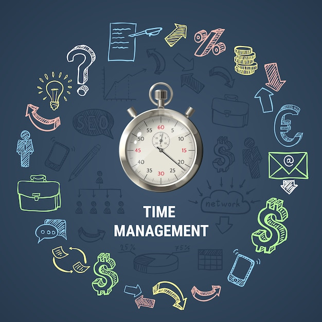 Time management round composition Free Vector
