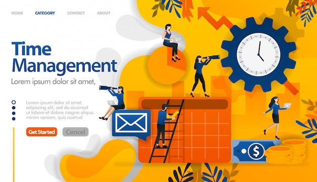 Time management, scheduling, planning in business and financial projects Premium Vector