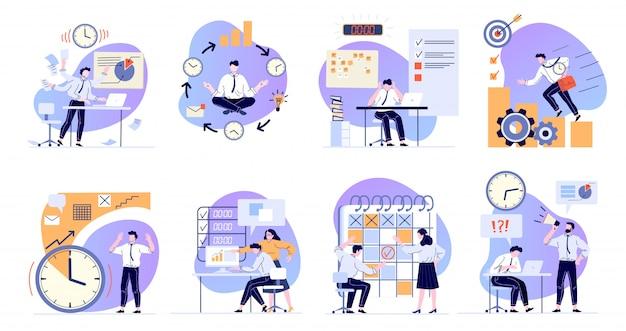 Тайм-менеджмент. планирование рабочих задач, крайнего срока и офис-менеджера, работающего с компьютерными плоскими иллюстрациями. рабочий стресс и решение проблем. организация рабочего процесса Premium векторы