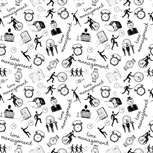 Time management seamless pattern with business\ sketch icons vector illustration