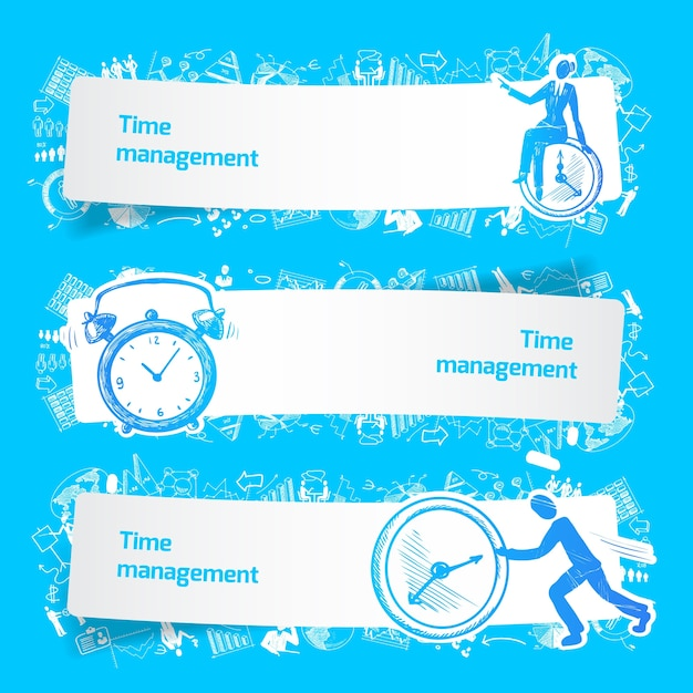 Time management set banners sketch with\ business people and alarm clocks isolated vector\ illustration