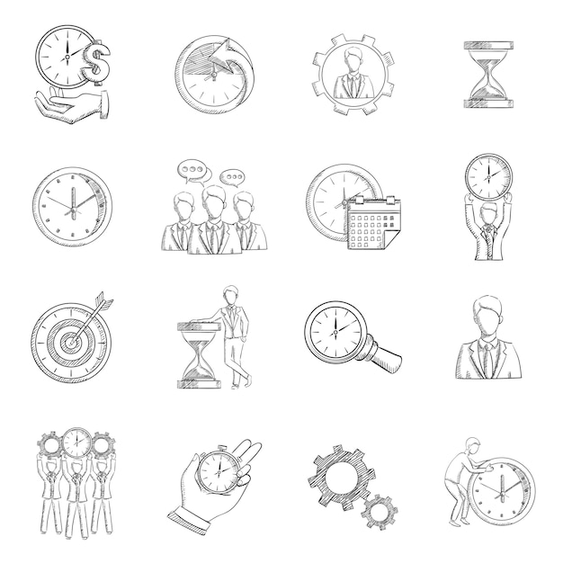 Time management sketch Free Vector